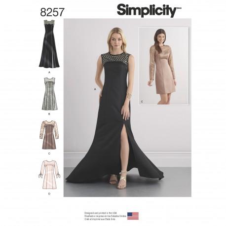 Kjole 4 varianter Simplicity snitmønster 8257