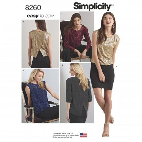 Bluse og tunika Simplicity snitmønster 8260 easy