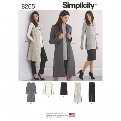 Lang vest, bukser, nederdel og tunika også plusmode Simplicity snitmønster 8265