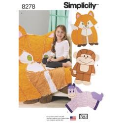 Børnetæppe Ræv, abe og hest snitmønster 8278