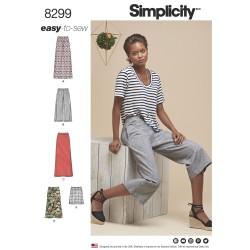 Bukser og nederdel m/slids Simplicity snitmønster 8299 easy