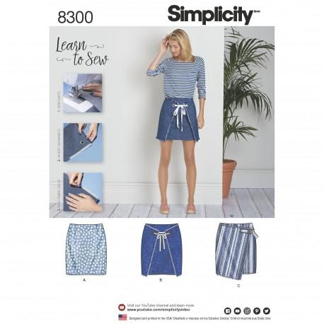 9a4fb6c10b4 Slå-om-nederdel Simplicity snitmønster 8300