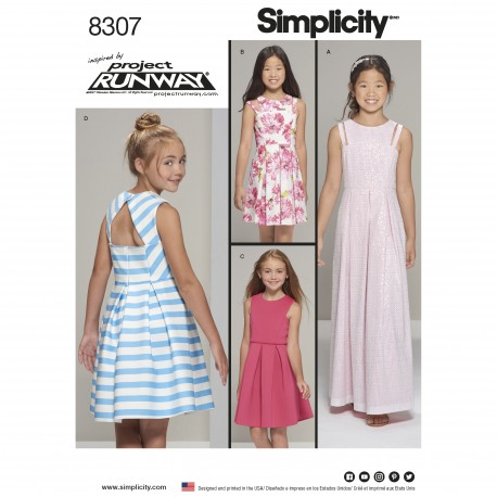 Pigetøj sommerkjole m/åben ryg også pige plus snitmønster 8307 Simplicity