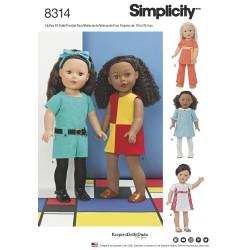 Dukketøj 45,5 cm dukke snitmønster 8314 Simplicity