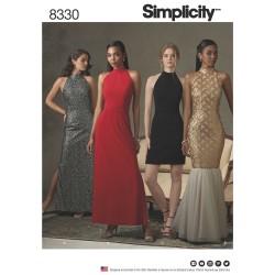 Den lille sorte m/halterneck snitmønster 8330 Simplicity