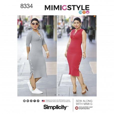 Kjole m/slids også plusmode MimiGstyle snitmønster 8334 Simplicity