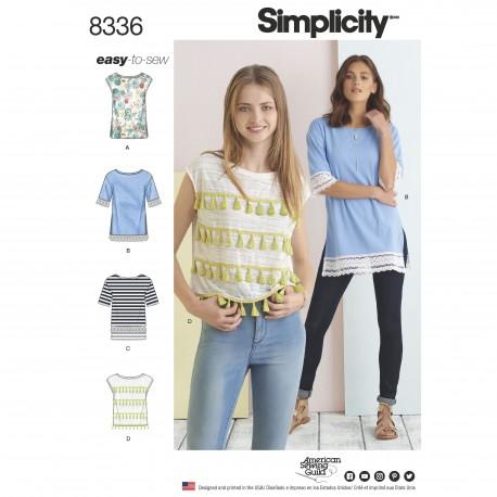 Bluse og tuniksasnitmønster 8336 Simplicity
