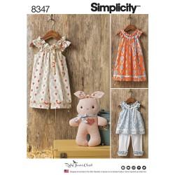 Børnetøj kjole,leggings og kanin snitmønster 8347 Simplicity