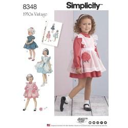 1950´vintage pigekjole og forklæde snitmønster 8348 Simplicity