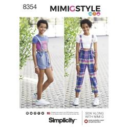 Lang-og korte bukser m/seler mimiGstyle pigeplus snitmønster 8354 Simplicity
