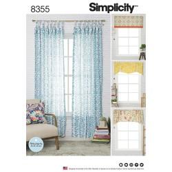 Gardinkappe og side gardiner snitmønster 8355 Simplicity