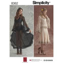 Blondebluse og blonde nederdel snitmønster 8262 Simplicity