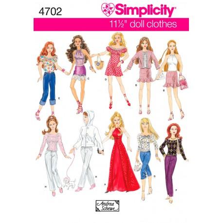 Tøj til Barbie dukke snitmønster 4702 Simplicity