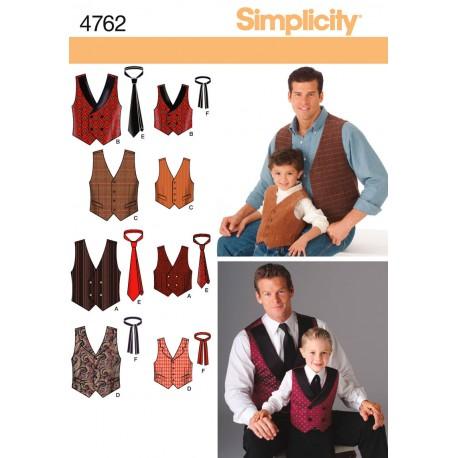 Vest og slips til far/søn 4 varianter Snitmønster 4762