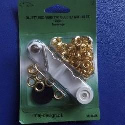 Snøreringe guld 5,5 mm med værktøj