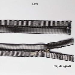 6mm jakke metal lynlås sort/hvid stribet/ternet