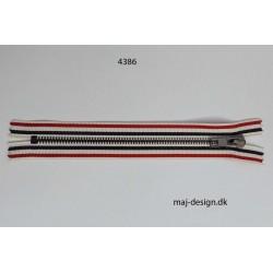6mm metal lynlås stribet rød/hvid/m.blå ikke delbar 18cm