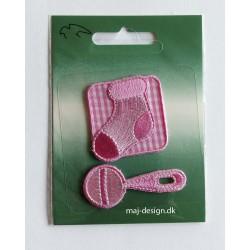 Baby strygemærke lyserød 2 stk.pr.kort