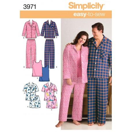 Pyjamas herre/dame også plusmode snitmønster easy 3971