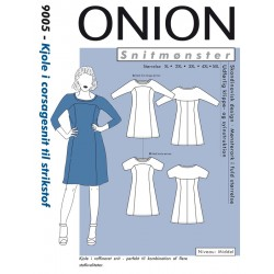 Kjole til corsagesnit til strikstof plusmode Onion snitmønster