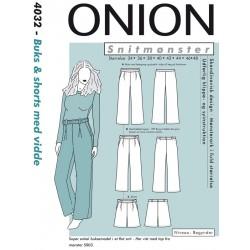 Bukser og shorts m/vidde onion snimønster