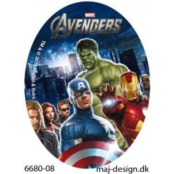 Captain America og Iron Man printet strygemærke