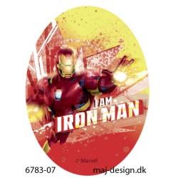 Iron Man strygemærke ovalt 11 x 8 cm