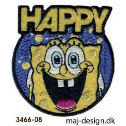 Svampebob Happy strygemærke Ø 6 cm