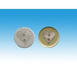 Mat guld eller sølv knap med hjerte 15mm