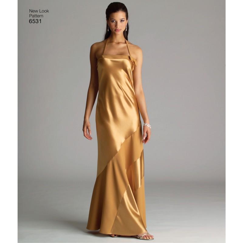 e1385e8c Lang kjole 3 varianter Snitmønster NEW LOOK 6531
