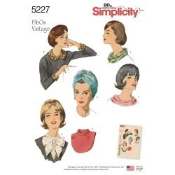 1960ér vintage snydekrave og turban snitmønster 5227