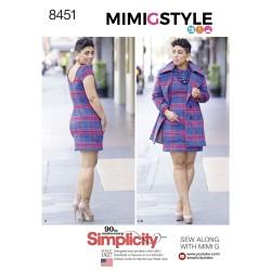 Kort frakke og kjole også plusmode snimplicity snitmønster 8451