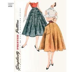 1950ére vintage nederdel m/store knapper simplicity snitmønster 8458