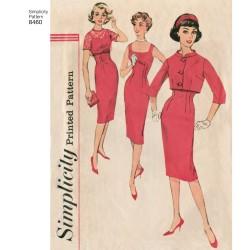 1950ére Kjole kort jakke og blonde top simplicity snitmønster 8460