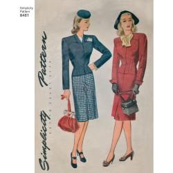 1940ére Vintage dragt også plusmode simplicity snitmønster 8461