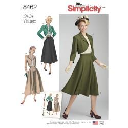 1940ére Vintage nederdel, bluse og jakke simplicity snitmønster 8462