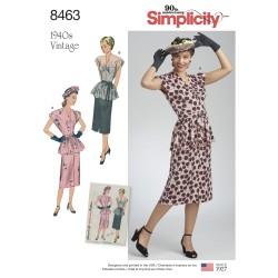 1940ére vintage nederdel og bluse simplicity snitmønster 8463