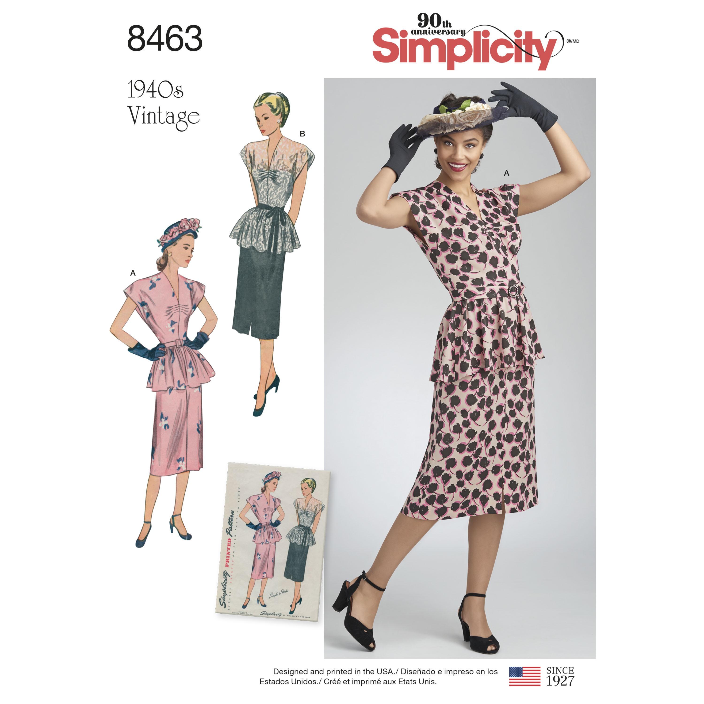 d69cb8aea8e8 1940ére vintage nederdel og bluse simplicity snitmønster 8463