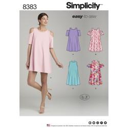 Kjole m/åben skulder simplicity snitmønster 8383