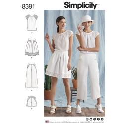 Bluse, nederdel og shorts også plusmode simplicity snitmønster 8391