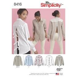Skjorte m/åben ryg også plusmode simplicity snitmønster