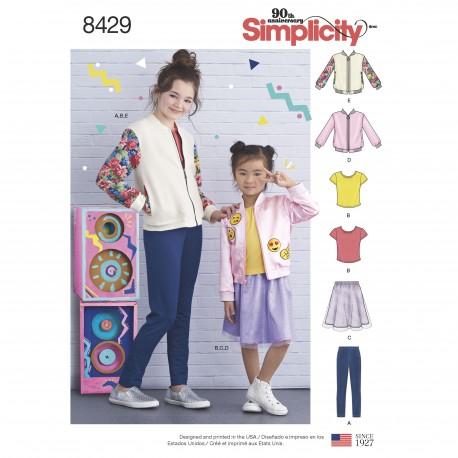 Bomer jakke nederdel og bluse pigetøj simplicity snitmønster 8429
