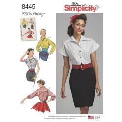 1950ére vintage bluse og bælte også plusmode simplicity snitmønster 8445