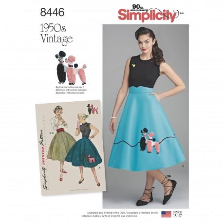 1950ére vintage Nederdel og skærf også plusmode simplicity snitmønster 8456