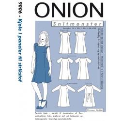 Kjole i paneler til strikstof Onion snitmønster 9006