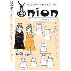 Empire kjole & spencer til strikstof Onion snitmønster 20036