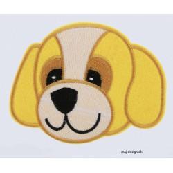 Gult hundehoved 12,5x9,5 cm broderet strygemærke