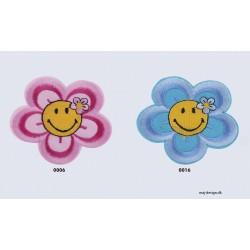 Smily m/blomst broderet strygemærke