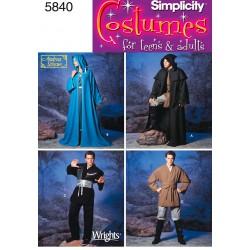 Kostume, kappe, kåbe og tunika voksne snitmønstre simplicity 5840