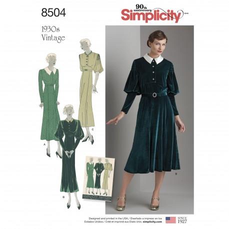 Vintage 1930érne Kjole snitmønster Simplicity 8504